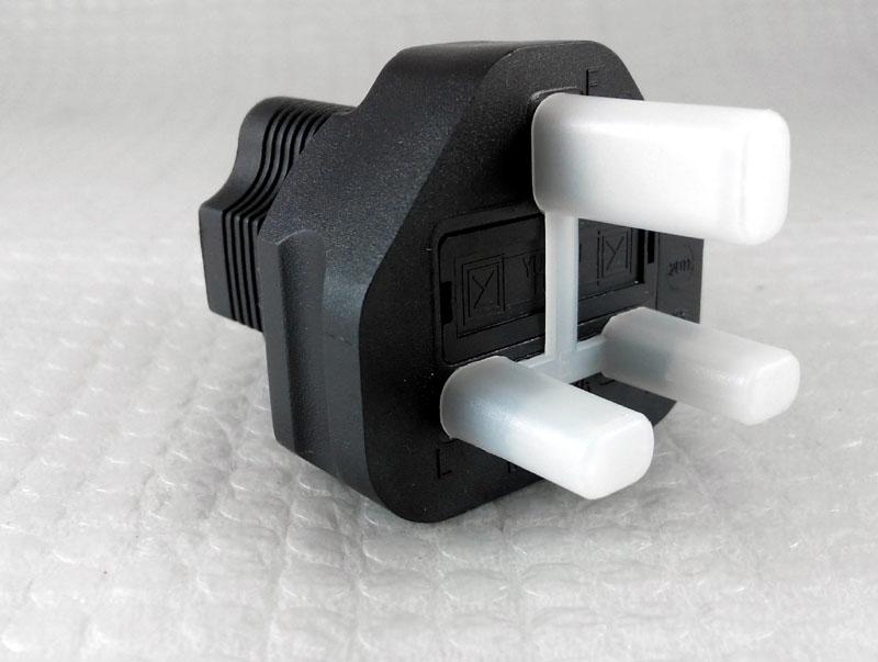 USA-UK 3 Prong Plug Adapter, NEMA 5-15R receptable   Actsessory Shoppe