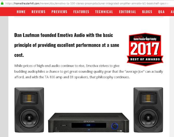 Emotiva TA-100 Stereo Pre/DAC/Tuner/Integrated Amplifier