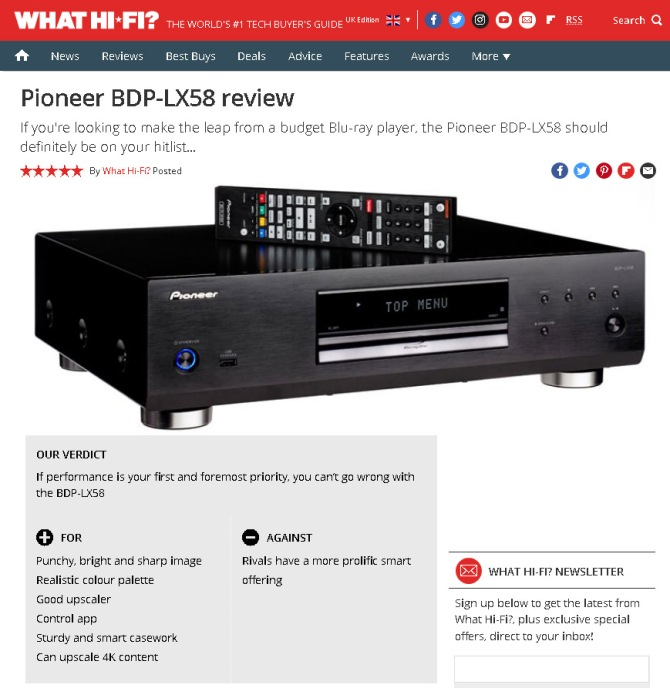 Pioneer BDP-LX58 Bluray 3D, SACD, Universal Player. 4K Upscaling, Jailbreak Pioneer-lx58